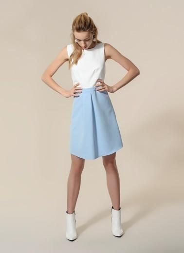 Agenda Fiyonk Detaylı Elbise Beyaz